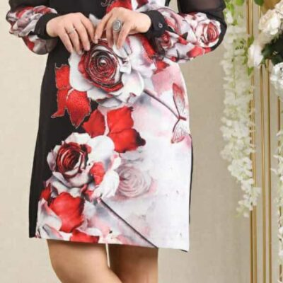 Dress Short Black with Red Roses